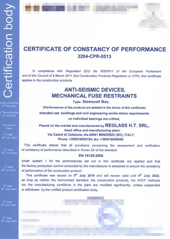 Certificato Sismocell Box