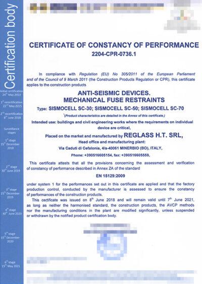 Certificato Sismocell